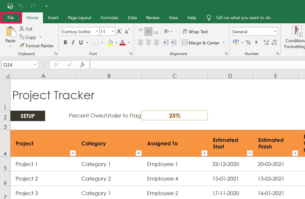 click File to delete recent documents in Excel