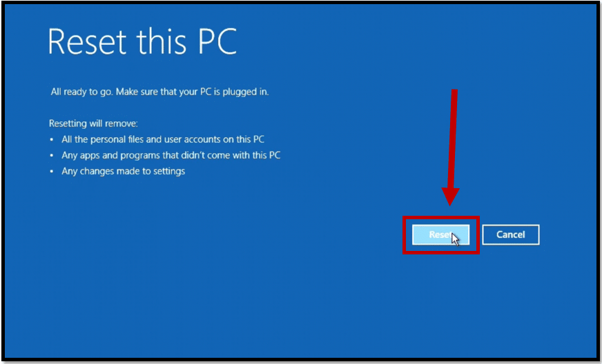 start to factory reset Acer laptop from startup