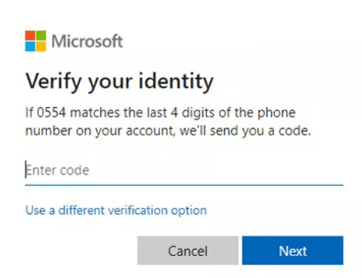 Enter the confirmation on Microsoft account reset page