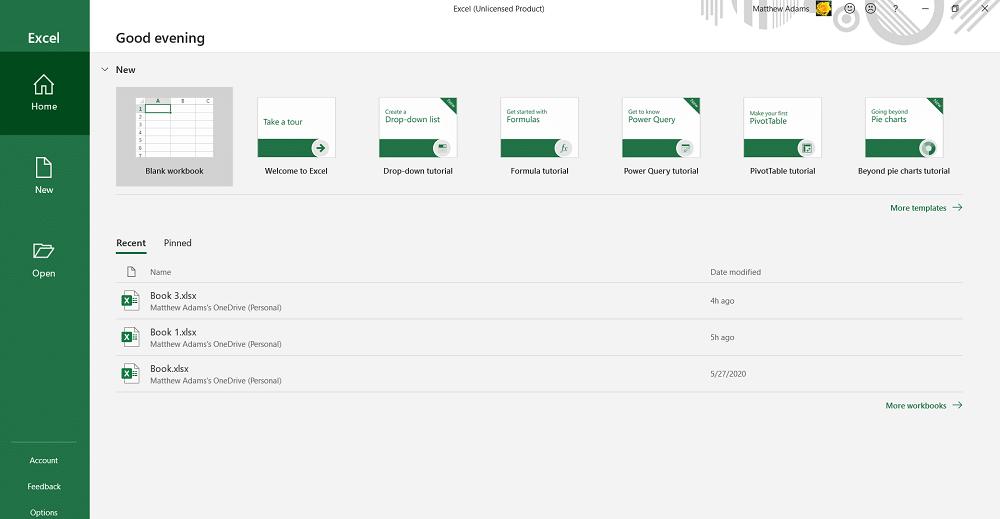 Excel's File tab