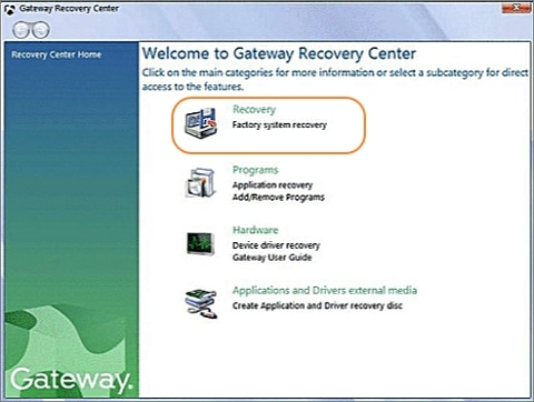 Factory system recovery in Gateway recovery center