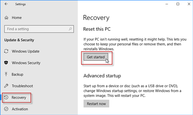 get started to factory reset your Asus laptop