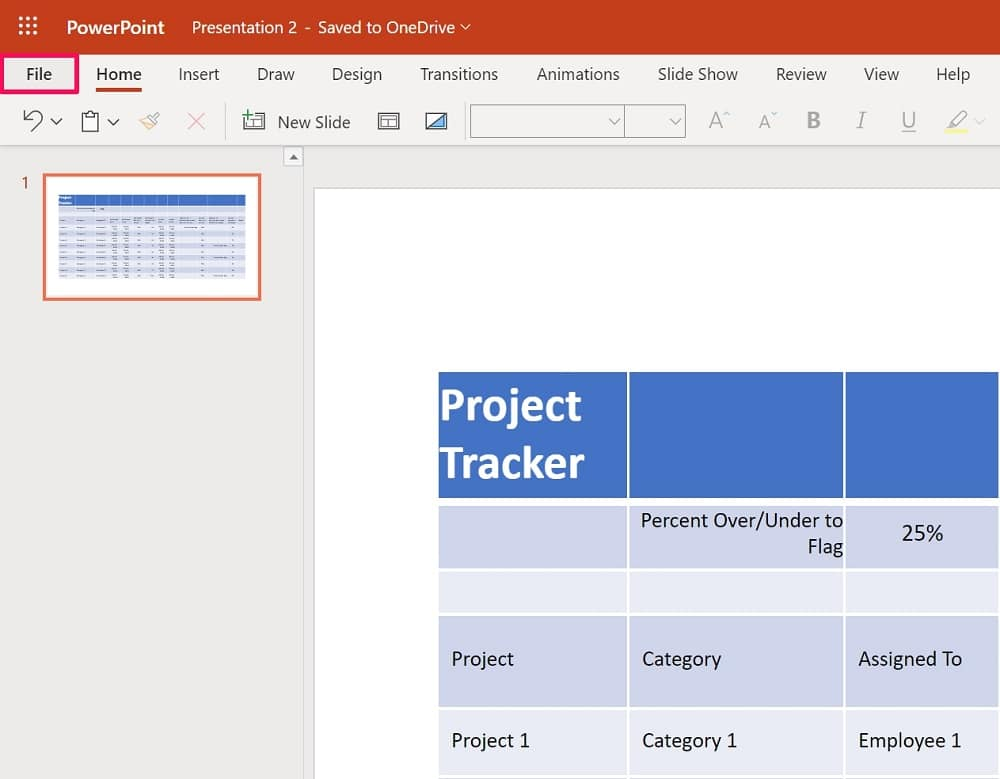 Click on the File in Powerpoint