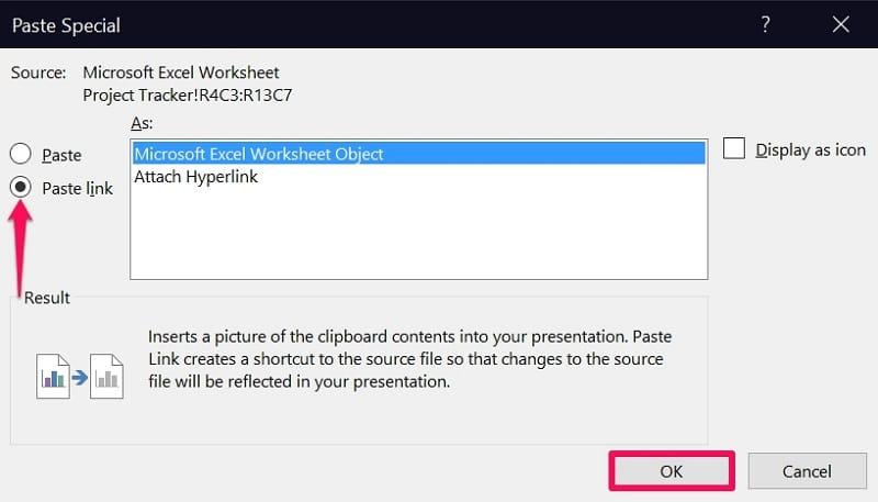Paste Microsoft Excel Worksheet Object in PowerPoint