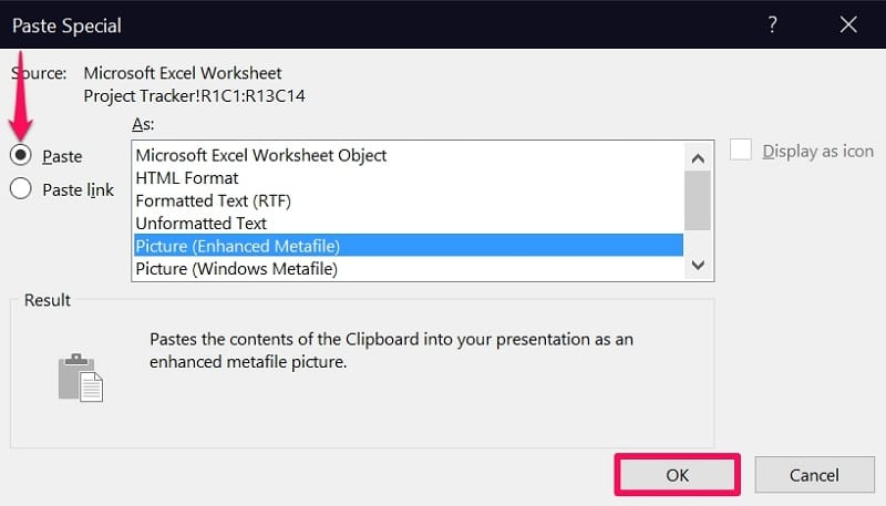 Paste Picture (Enhanced Metafile) in PowerPoint