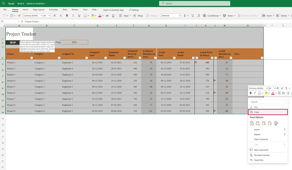Copy the spreadsheet you want to convert