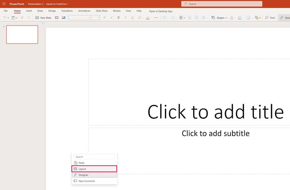 Choose layout in Powerpoint
