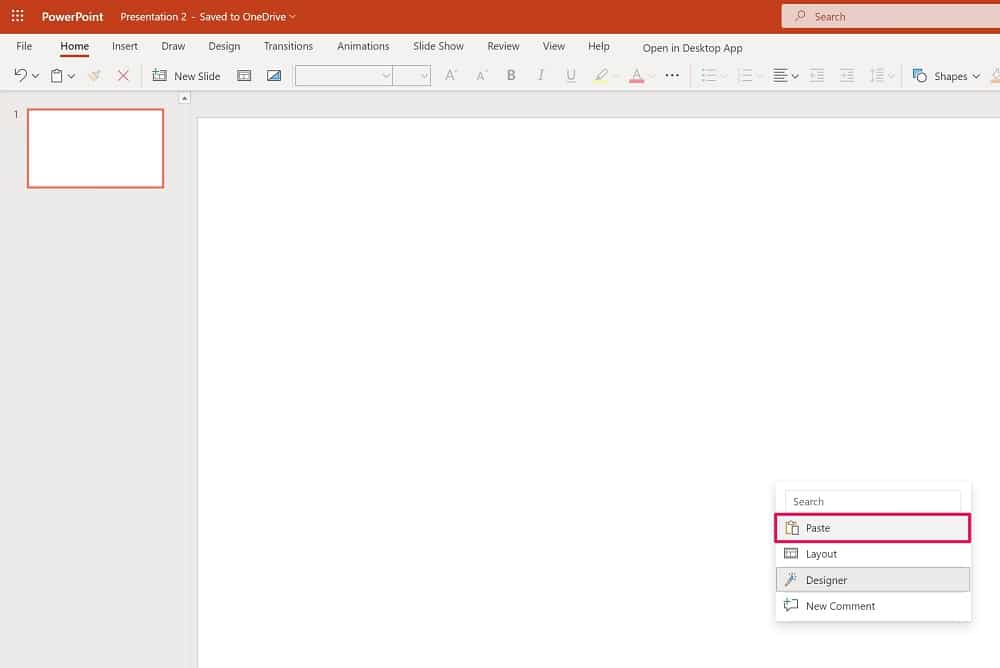 Paste the copied spreadsheet in Powerpoint