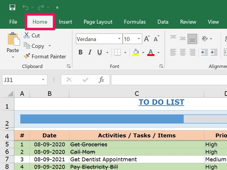 Home from menu bar in Excel
