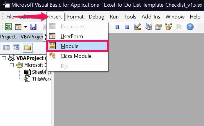 Insert Module in Excel