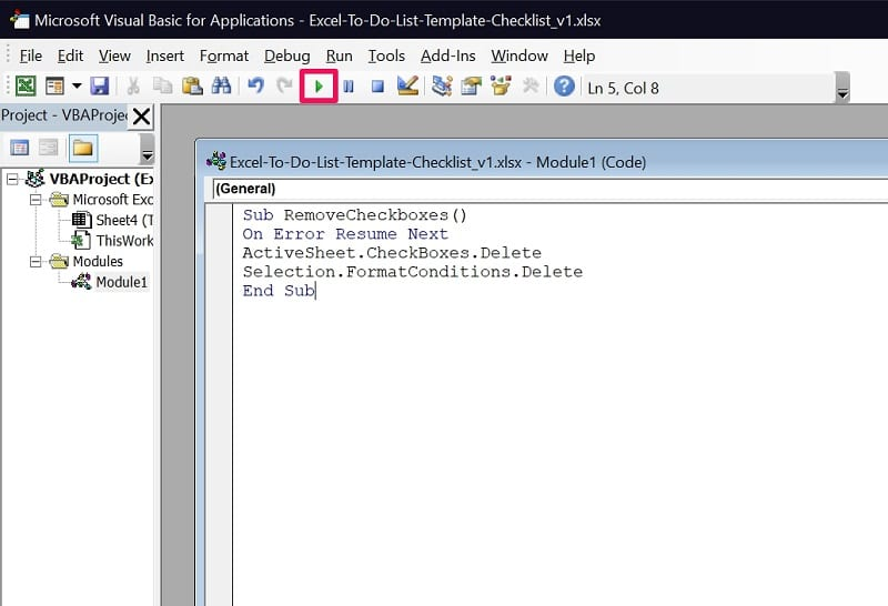 Run code in Excel VBA to delete checkboxes