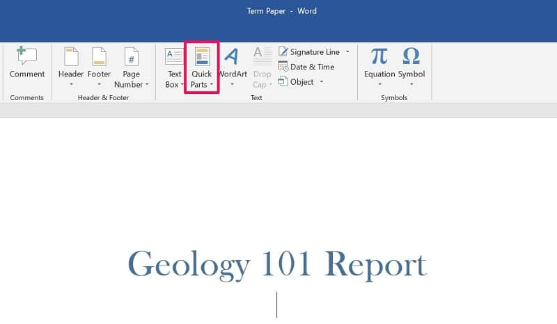 Quick Parts option in Word
