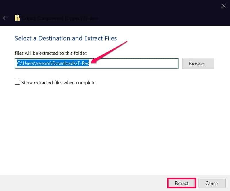 Extract ZIP file on Windows 10