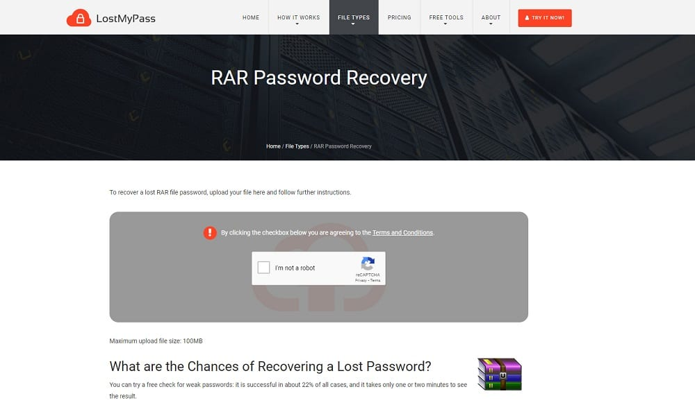 LostMyPass RAR Password Recovery Online
