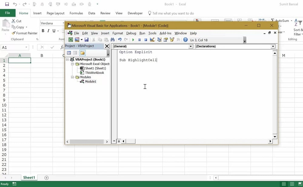 The macro editor in Excel