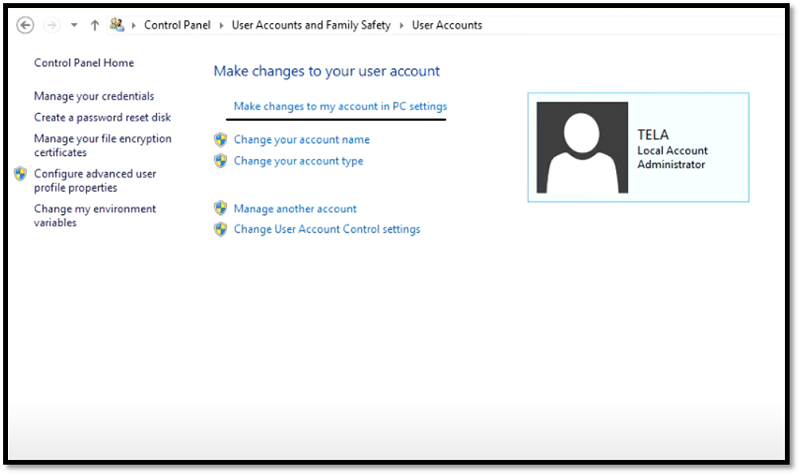Make changes to my account in PC settings