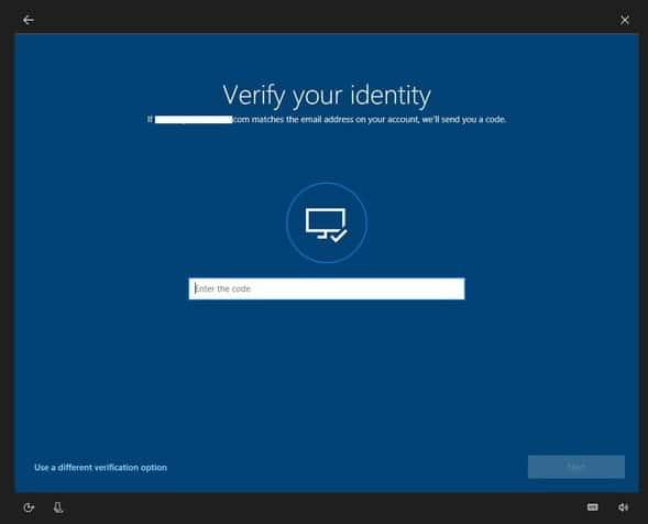 windows reset password identity verification on Dell laptop