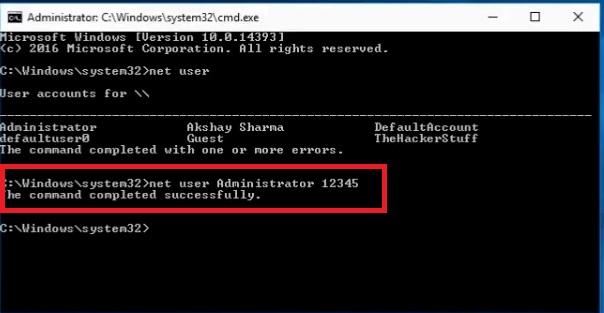 Unlock Lenovo laptop using Command Prompt