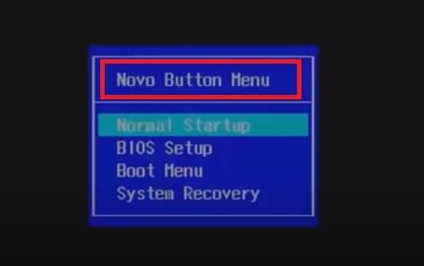 novo button menu on Lenovo laptop