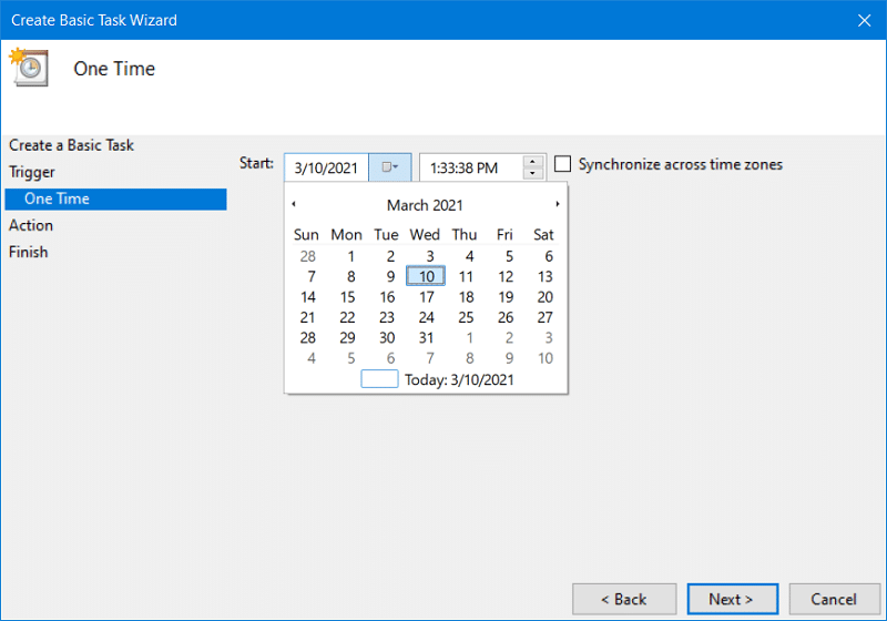 The One Time settings on Windows 10