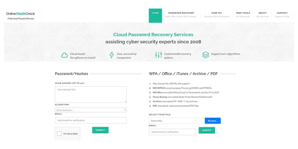 Online Hash Crack for RAR password recovery
