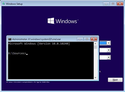 Unlock a locked laptop using a Windows installation disk