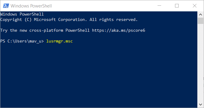Open Local Users and Groups on Windows 10 with PowerShell