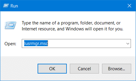 Open Local Users and Groups on Windows 10 with the Run dialog
