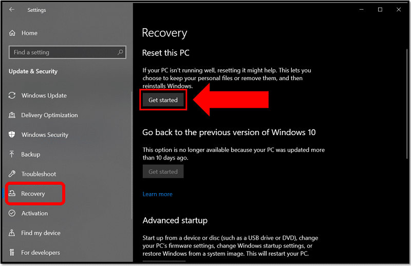 Get started to factory reset Acer laptop