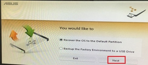 recover to the default partition on Asus laptop