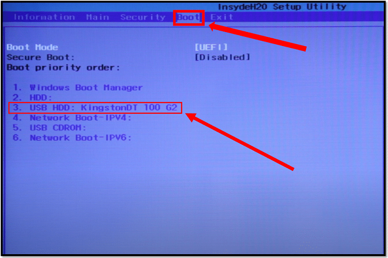 Boot Acer laptop from password reset disk