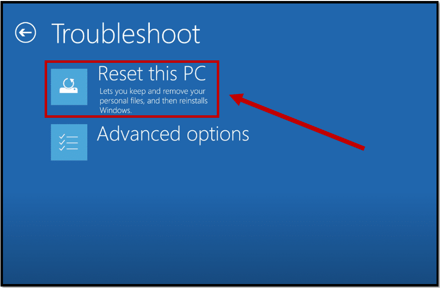 Choose Reset this PC on Acer laptop