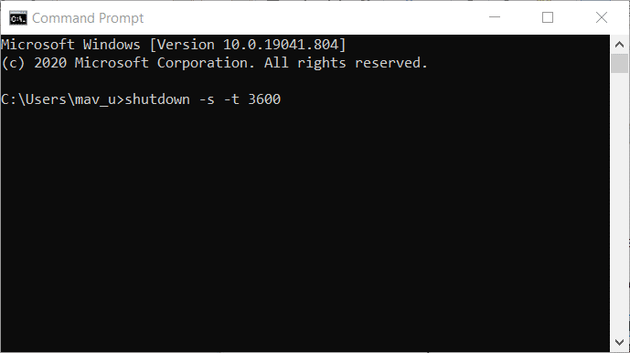 The shutdown -s Command Prompt command on Windows 10