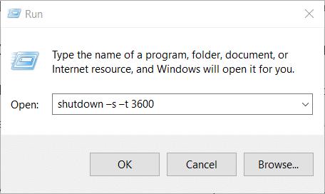 The auto shutdown command on Windows 10