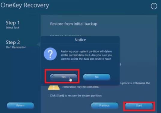 start the system restoration process on Lenovo laptop