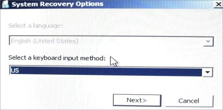 system recovery options in Gateway laptop