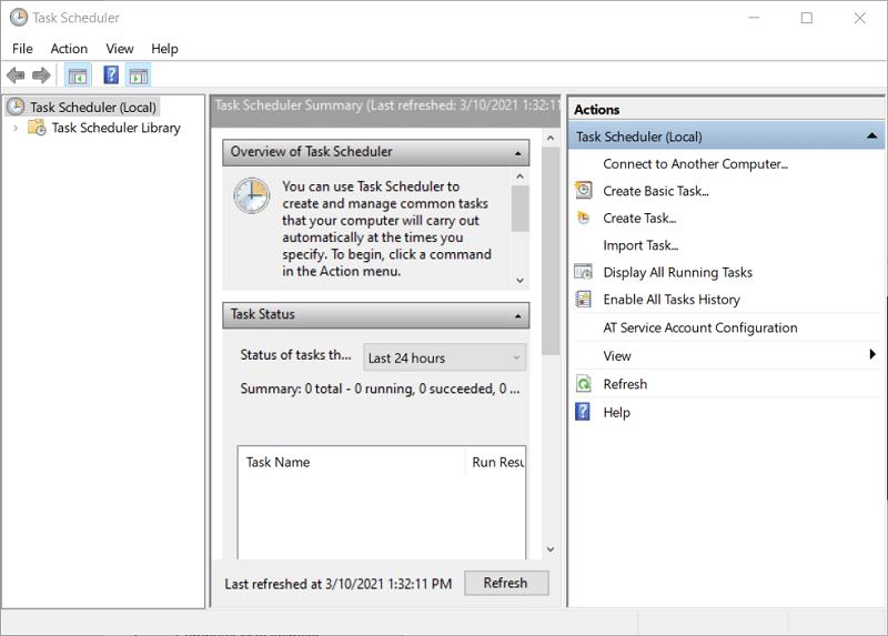 The Task Scheduler window on Windows 10