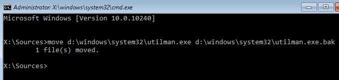 type the command utilman