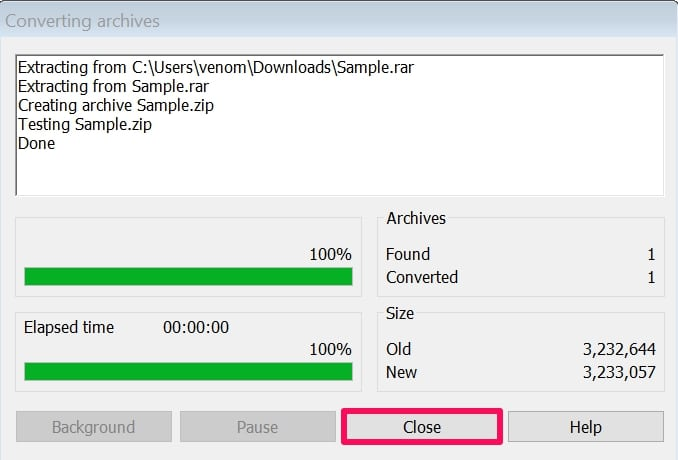 wait for converting RAR file to ZIP