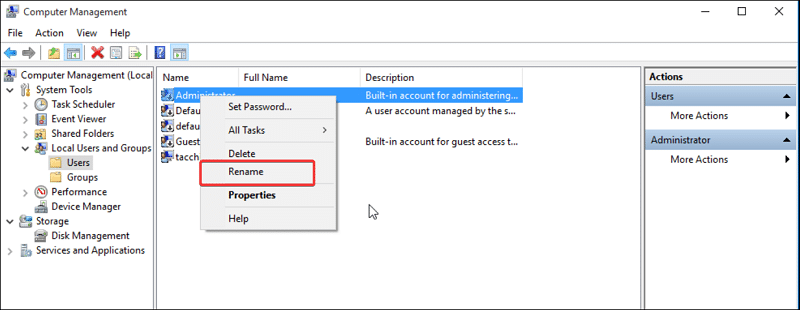 Rename the administrator user on Local Users and Groups Windows 10