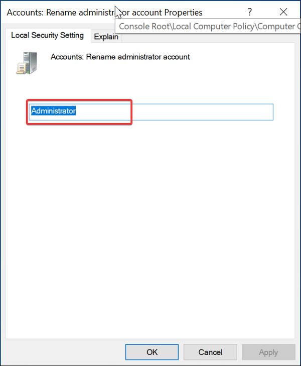 Accounts: rename administrator account properties on Windows 10