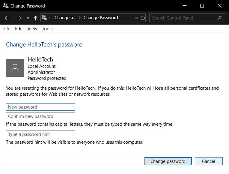 Change the password for Default Administrator on Windows 10