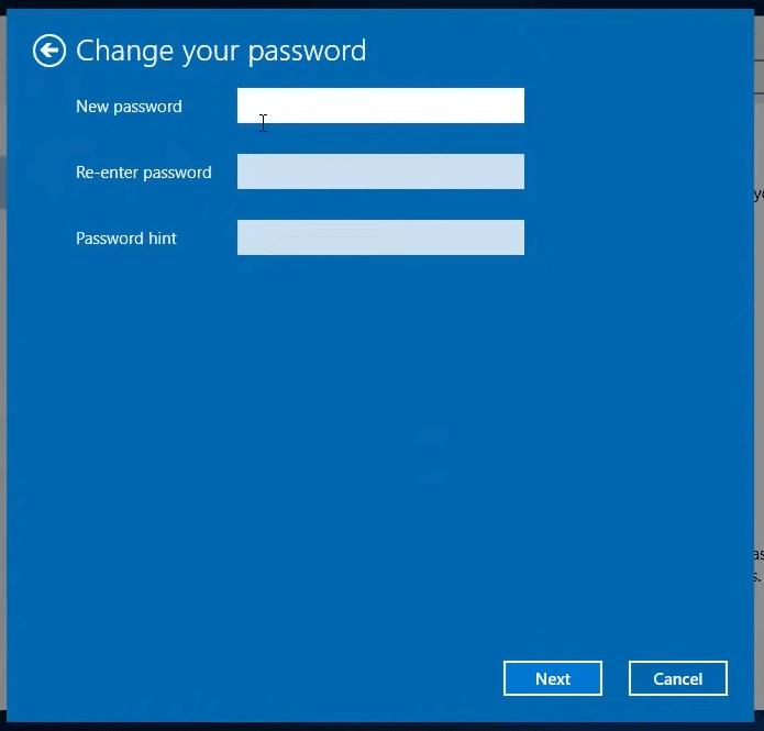 Change your password on Windows 10
