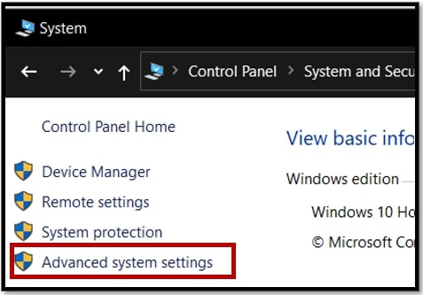 open Advanced system settings from control panel