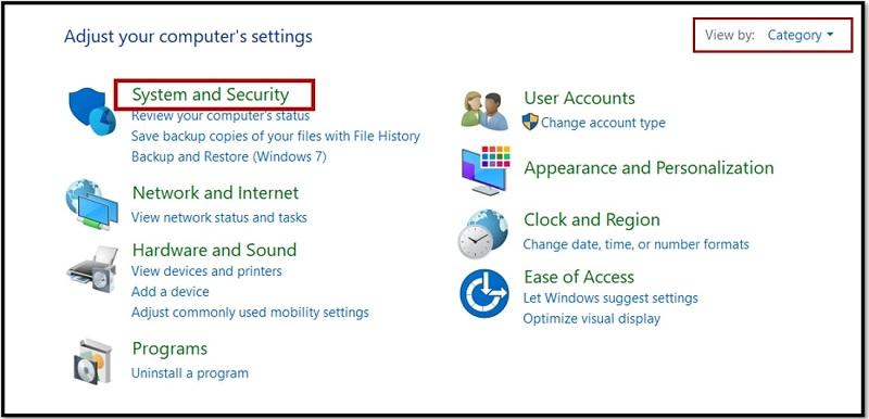 System and Security on Windows 10