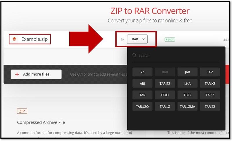 ZIP to RAR converter online