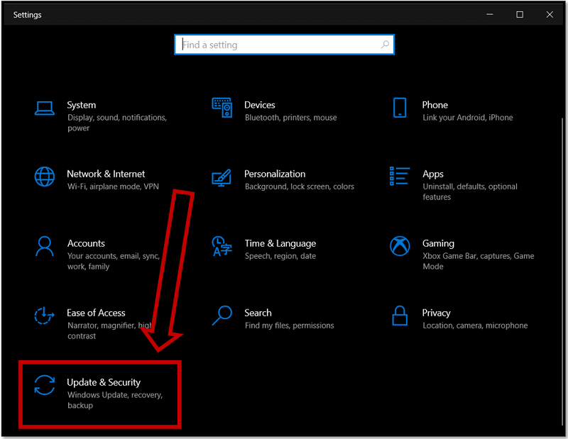 Select Update & Security on Windows 10