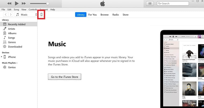 Click the device icon on iTunes