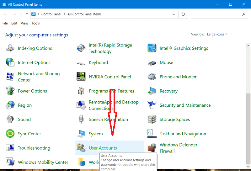 Remove Windows 10 password from Control Panel