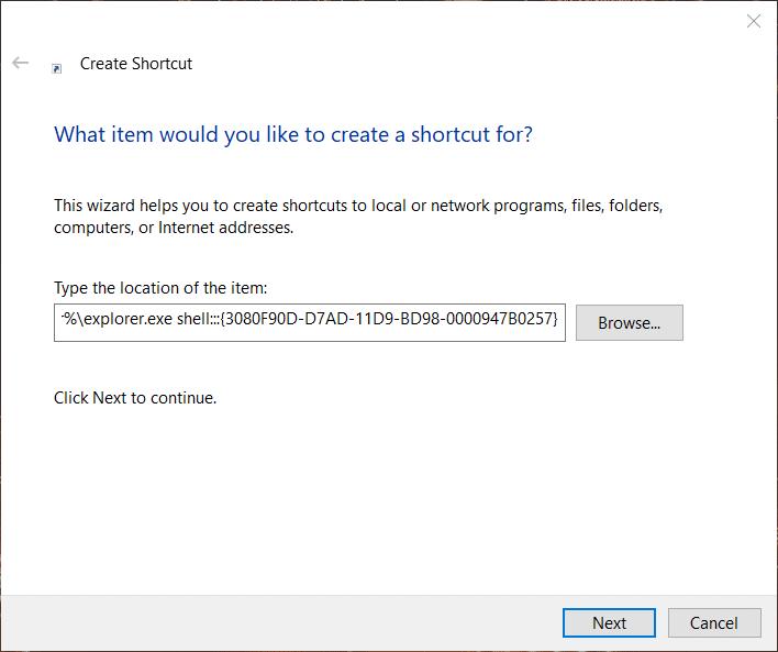 The Create Shortcut window on Windows 10